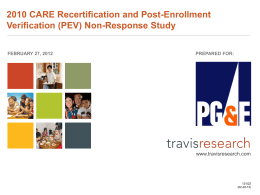 2010 CARE Recertification and Post Enrollment Veification Non