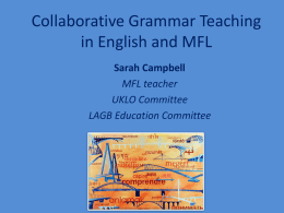 Collaborative Grammar Teaching in English and MFL