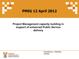 Project Management capacity building in support of enhanced