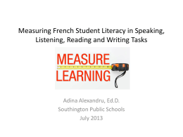 Measuring French Student Literacy in Speaking