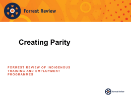 for Forrest Review consultations - Indigenous Jobs and Training