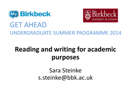 Reading and writing for academic purposes