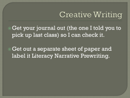 Literacy Narrative Prewriting