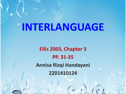 INTERLANGUAGE - Introduction to Second Language Acquisition