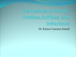 Derivatives of words-Prefixes,Suffixes, and Inflections