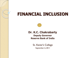 Financial Inclusion - Reserve Bank of India