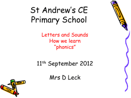 Phonics Booklet for Parents - St Andrew`s CE Primary School, Hull