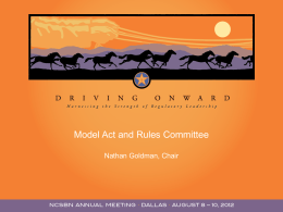 Model Act and Rules Committee - National Council of State Boards