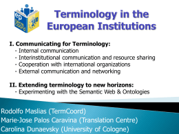 presentation - TermCoord Terminology Coordination Unit of the