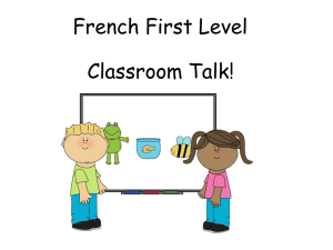 French First Level Classroom Talk