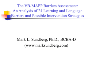 ABA_Barriers_5-20-09.. - MARK L. SUNDBERG, Ph.D., BCBA