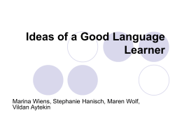Ideas of a Good Language Learner