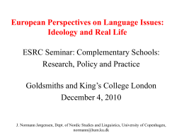 European Perspectives on Language Issues
