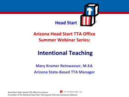 Intentional Teaching (2 parts) - Arizona Head Start Association