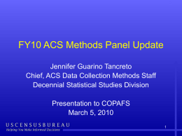 FY10 ACS Methods Panel Update