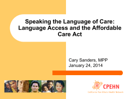 Language Access and the Affordable Care Act