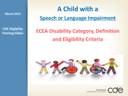 Eligibility of a Child with Speech or Language Impairment
