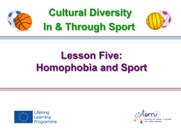 Lesson 5 Homophobia and Sport 3.2