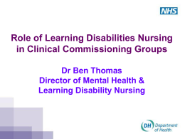 Ben Thomas Role of learning disability nursing in CCGs - Jan