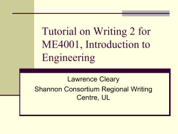 Tutorial on Writing 2 for ME4001, Introduction to Engineering