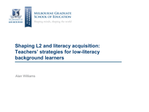 Strategies for Low literacy learners, Alan Williams