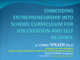 Embedding Entrepreneurship into School Curriculum For Job