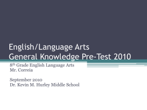 Language Arts Pre-Test - Dr. Kevin M. Hurley Middle School