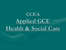 GCE Applied Health & Social Care