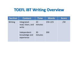 TOEFL iBT Writing Overview