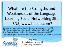 (SNS) www.busuu - LLAS Centre for Languages, Linguistics and