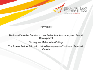 The role of further education in building skills into