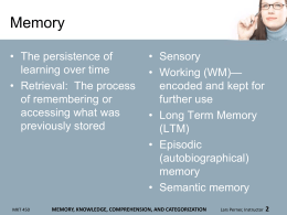 memory, knowledge, comprehension, and categorization