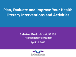 Plan, Evaluate and Improve Your Health Literacy Interventions