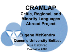 CRAMLAP Celtic, Regional, and Minority Languages Abroad Project
