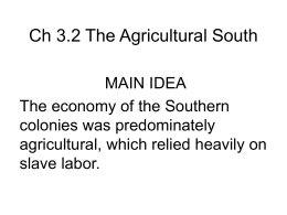 Ch 3.2 The Agricultural South