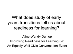 What does study of early years transitions tell us about readiness for