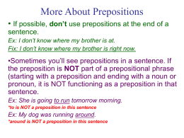 More About Prepositions