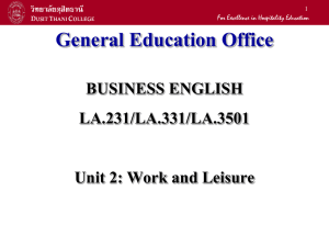 Unit 2 – Work and Leisure