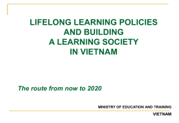 Lifelong Learning and Building a Learning Society in Vietnam
