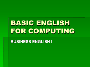 BASIC ENGLISH FOR COMPUTING