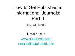 Getting Published in International Journals