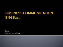 BUSINESS COMMUNICATION – Unit 5 – Rules of good