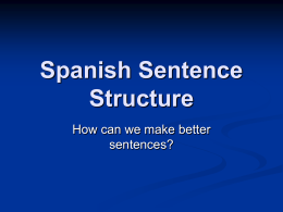 Sentence Structue