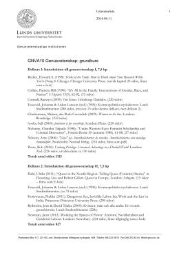 GNVA10 Genusvetenskap: grundkurs
