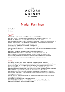 resume - Actors Agency Sweden