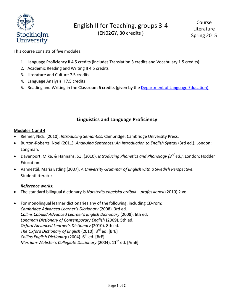Course literature, English II for teaching, SPRING 2015 (pdf)