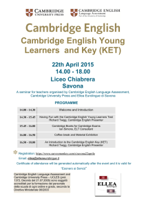 Cambridge English Young Learners and Key (KET) 22th April 2015