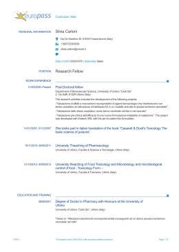 Curriculum Vitae - Università degli Studi di Urbino