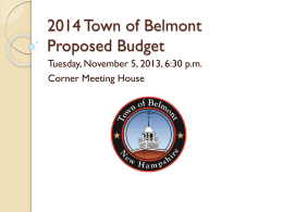 2014 Town of Belmont Proposed Budget