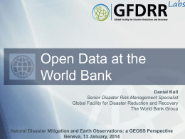 Open Data at the World Bank - Group on Earth Observations